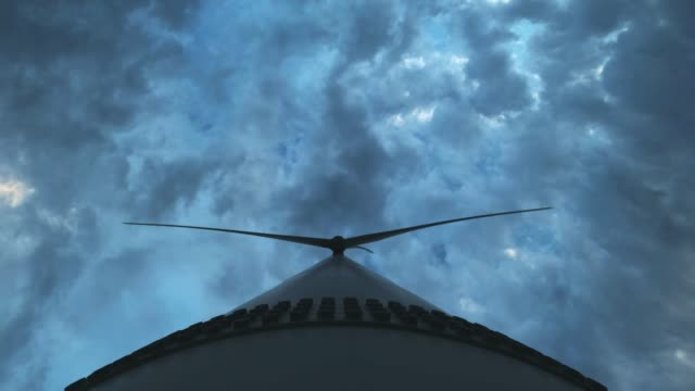 Close-up: Wind turbines produce environmental energy. The concept of environmental pollution, new technologies of alternative energy. General plan, evening, overcast.