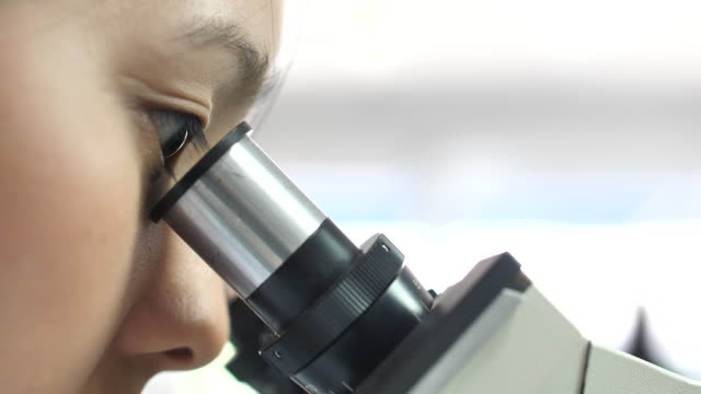 Close-up Woman Scientists Microscope in the Laboratory Close-up Woman Scientists Microscope in the Laboratory microscope stock videos & royalty-free footage
