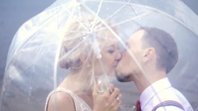 close-up, Young beautiful newlyweds kiss under a transparent umbrella. spring sunny day. wedding