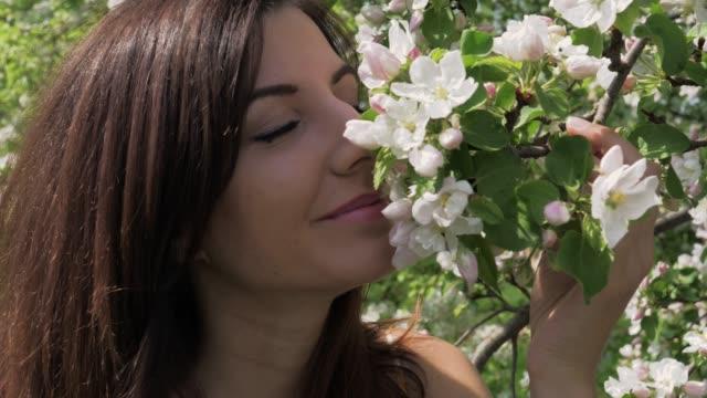 근접 촬영 젊은 백인 여자 킁 정원에서 개화 사과 나무의 꽃 - 한 명의 젊은 여자만 스톡 비디오 및 b-롤 화면