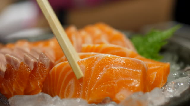 Close-Up:Fresh salmon sashimi video