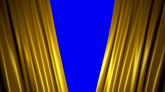 Closing and opening shiny golden silk curtains on stage. 3D animation with chroma key. Closing and opening shiny golden silk curtains on stage. Animation with chroma key. announcement message stock videos & royalty-free footage