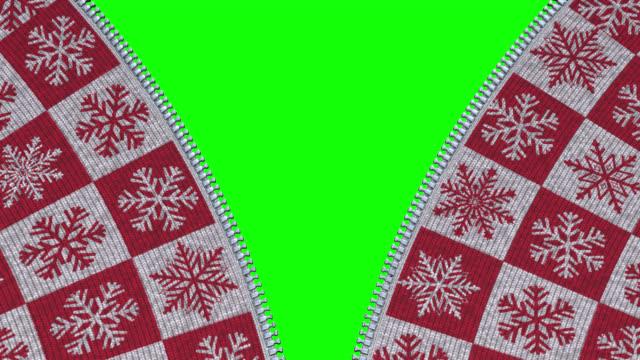 별이 달린 크리스마스 스웨터를 입고 지퍼를 닫고 여는 다. - christmas decorations 스톡 비디오 및 b-롤 화면