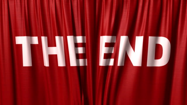 closing red curtain with a title 'the end' video
