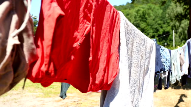 Clothesline with clothes video