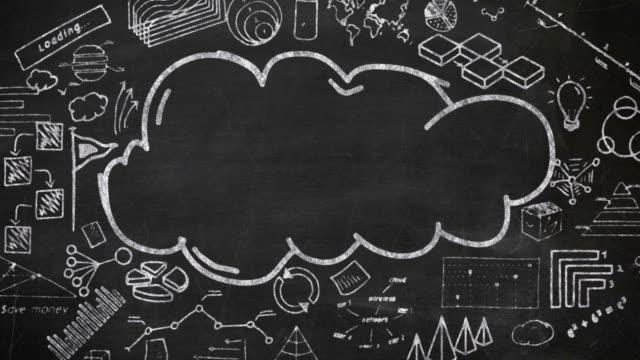 vidéos et rushes de nuage et infographies à la craie sur le tableau noir. - ardoise