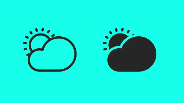 cloud and sun icons - vector animate - clip art video stock e b–roll
