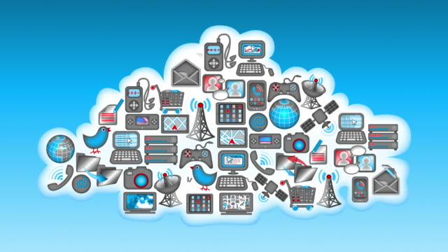 Cloud Computing - Communications icons inside a_cloud video