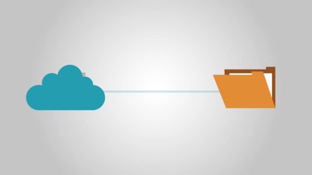 vídeos de stock e filmes b-roll de cloud computing sending files to folder hd animation - carta documento