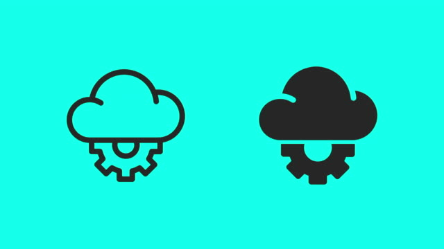 Cloud Computing Setting Icons - Vector Animate