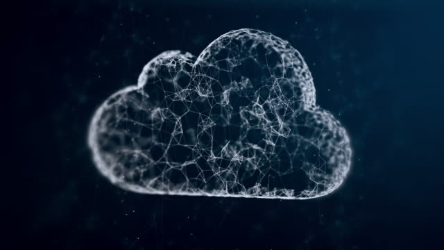cloud computing, slow moving communicated dots and lines video