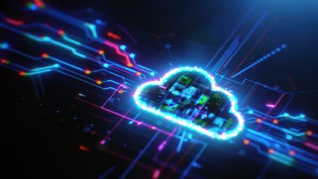 vídeos de stock, filmes e b-roll de fundo digital da solução de computação em nuvem - computação em nuvem