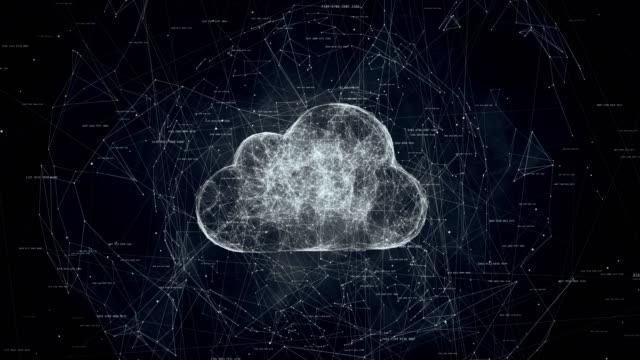 vidéos et rushes de le cloud computing, animation tech du symbole de nuage - informatique en nuage