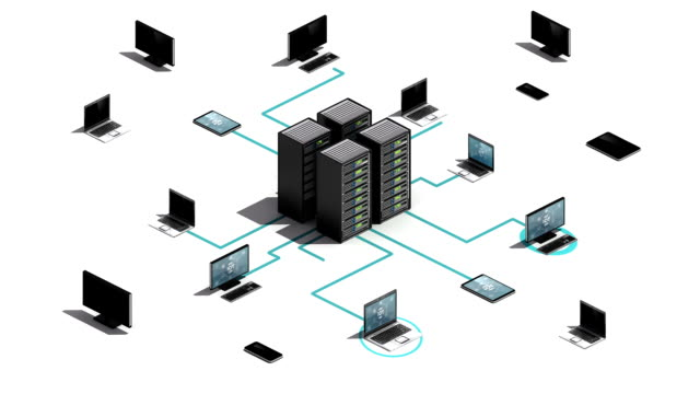 Cloud server connecting server system. Internet of things technology. video
