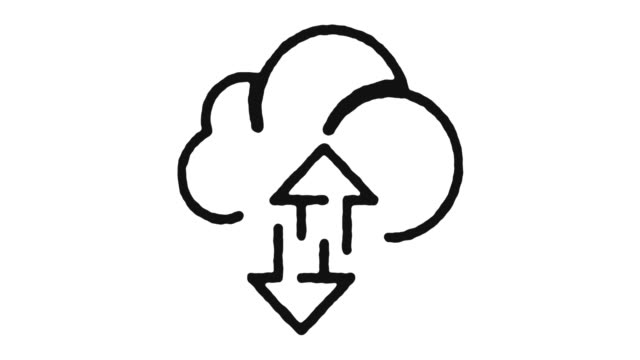 stockvideo's en b-roll-footage met cloud sync-pictogram animatie materiaal & alfakanaal - uitwisselen