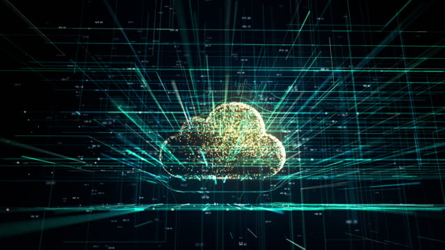 Cloud technology, abstract 3D information technology animation Cloud technology, cloud computing symbol, random moving numbers and others elements which creating abstract 3D information technology animation cloud computing stock videos & royalty-free footage