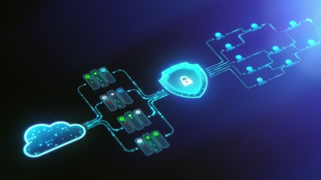 Cloud technology and cyber security background Cloud technology and cyber security background. 4k UHD video background encryption stock videos & royalty-free footage