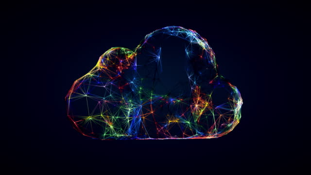 Video cloud technology symbol, 3D animation of cloud shape from connected lines