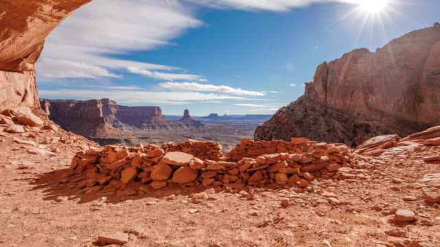Cloud Time Lapse Canyons Utah Landscape Flase Kiva Time Lapse at the famous False Kiva in  Canyonlands National Park in Southern Utah. west direction stock videos & royalty-free footage