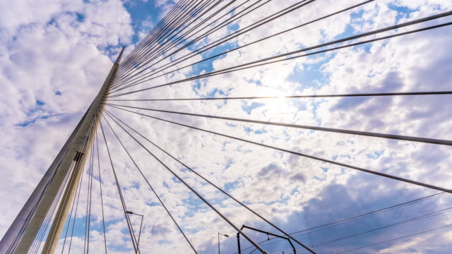 Cloud time lapse on Ada suspension bridge in Belgrade