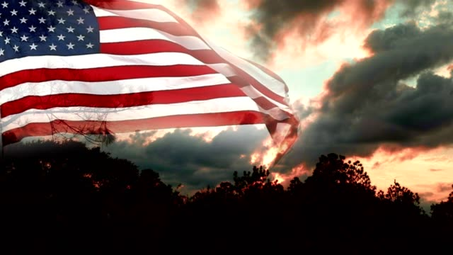 cloud typologies with american flag - memorial day стоковые видео и кадры b-roll