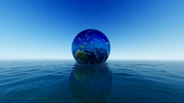 Cloudless Earth On Blue Sea Background For World Water Day