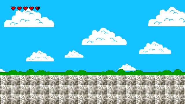 vídeos de stock e filmes b-roll de clouds and green hills in retro video game style - organismo vivo