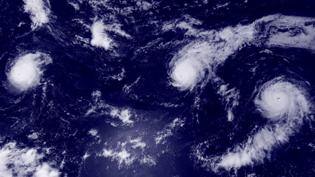 Clouds and hurricane storms over the ocean, satellite view. video