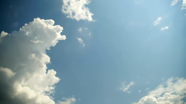 Clouds are Moving in the Blue Sky. TimeLapse