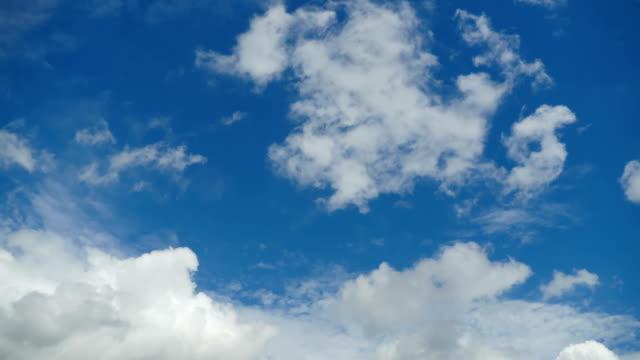 vídeos de stock e filmes b-roll de clouds are moving in the blue sky. timelapse - padrão repetido