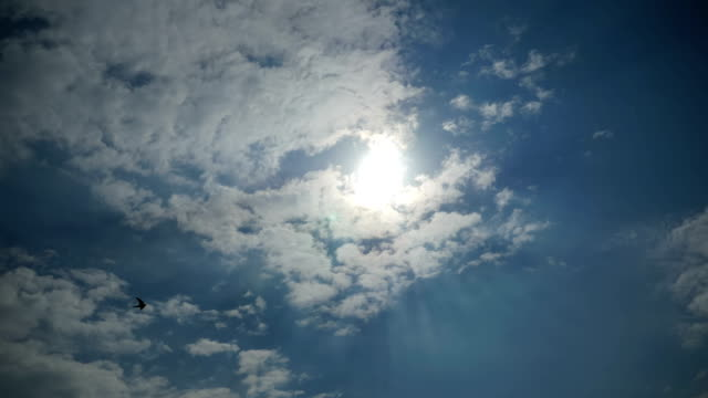 Clouds are Moving in the Blue Sky with Bright Sun Shining. Time Lapse video