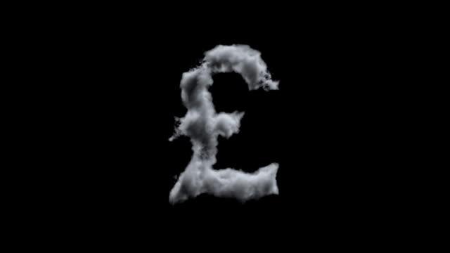 clouds creating english pound against black with alpha channel - pound sterling isolated bildbanksvideor och videomaterial från bakom kulisserna
