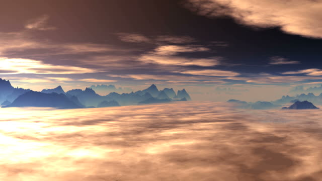 Clouds float over the mountains at sunrise (sunset) video