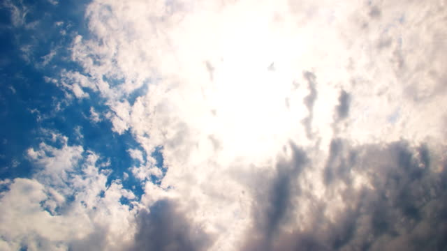 Clouds flying on blue sky dramatically with sun rays video