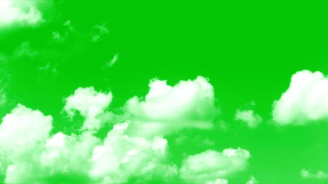 vídeos de stock e filmes b-roll de clouds greenscreen - clouds