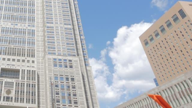 Clouds moving between buildings Tokyo Metropolitan Government Building jp201806 stock videos & royalty-free footage