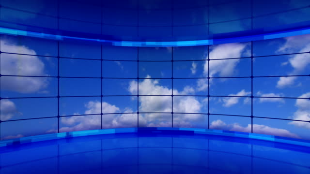 clouds on screens in blue virtual studio loop video