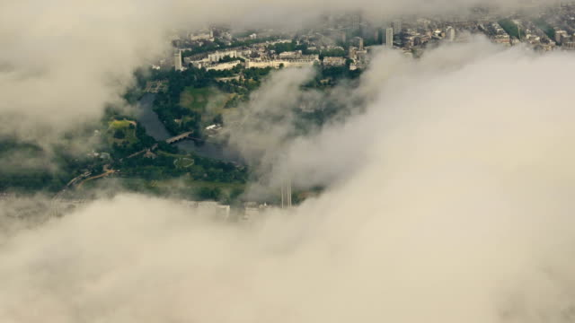 Clouds Over the UK - Aerial Footage Over the Clouds Featuring Famous Landmarks in Central London, UK