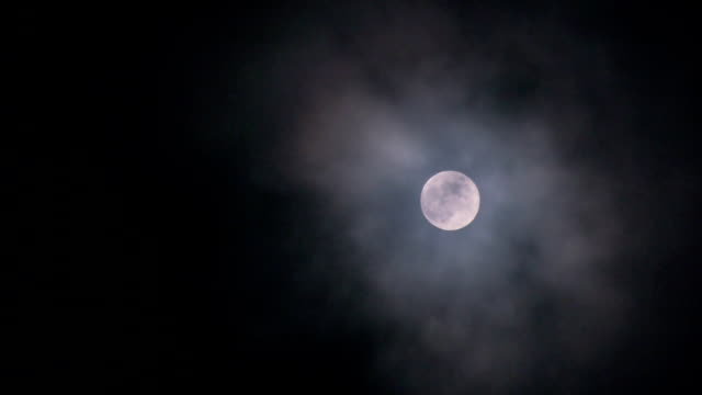 Clouds passing full moon video
