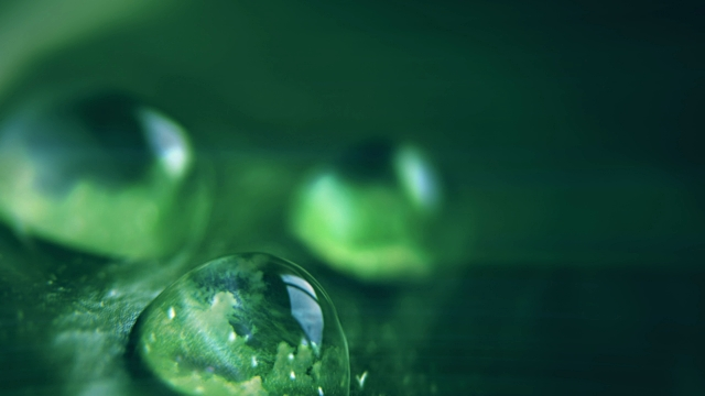 vídeos de stock e filmes b-roll de clouds reflected in water drops, cinemagraph - leaf