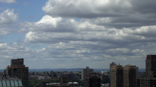 Clouds timelapse in new york city downtown time passing