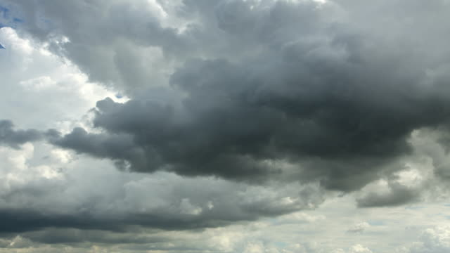 Clouds timelapse : moving cumulus in evening sky video