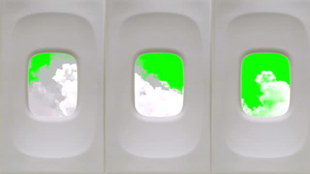클라우드 보기 항공기 창을 녹색 화면 배경 - airplane seat 스톡 비디오 및 b-롤 화면