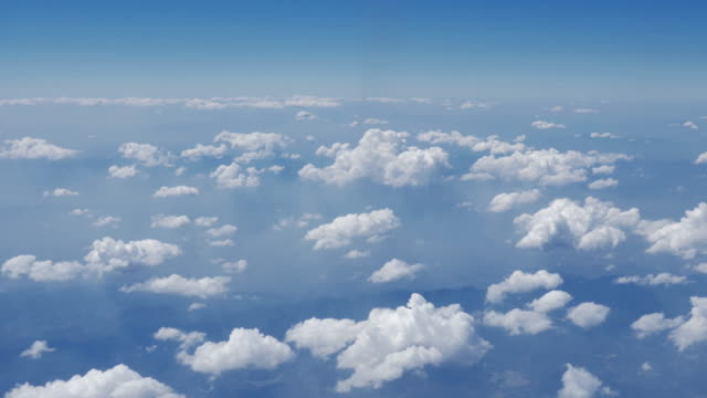 Clouds with sky from airplane window,Aerial view video