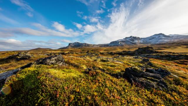 T/L 8K Cloudscape over Icelandic rolling landscape video