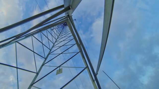 time-lapse in hd: panorama di nuvole sopra la linea di alimentazione - sottostazione elettrica video stock e b–roll