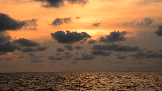 Cloudscape Over the Sea with Sunset Sky Backgrounds video
