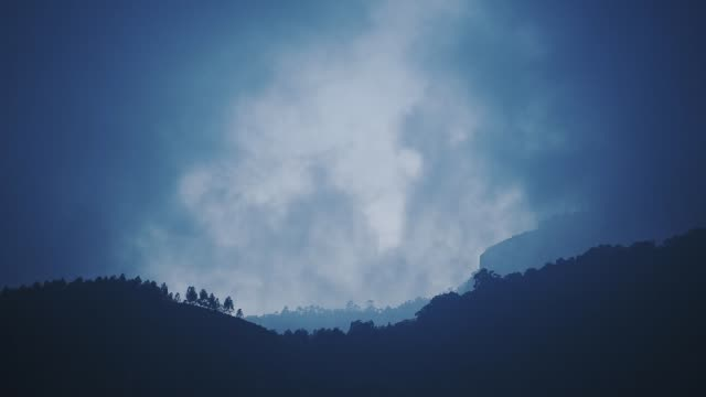 Cloudscape view of a mountain forest landscape, on a moody and foggy day, in Munnar, India