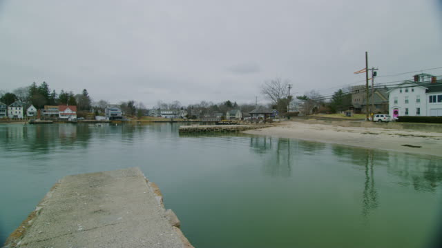 Cloudy Day At Stony Creek Neighborhood During Winter Time In Branford, Connecticut