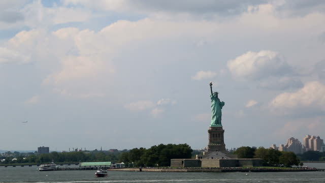 Cloudy day at the Hudson river - The Statue Of Liberty, New York City, United States